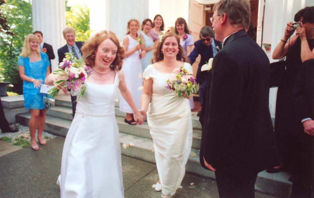brides leave church